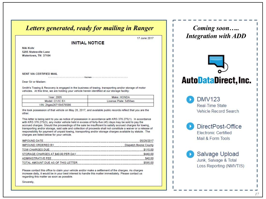 Ranger SST Lien Letter Example